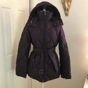 Burberry purple puffer coat with detachable hood.